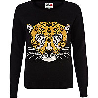 Black Chelsea Girl tiger head jumper