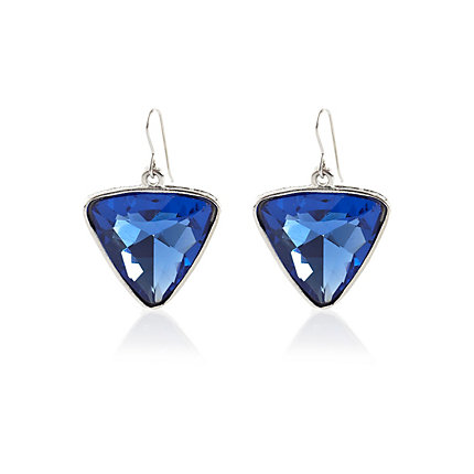 Blue triangle gem drop earrings