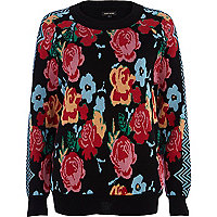 Black rose print jumper