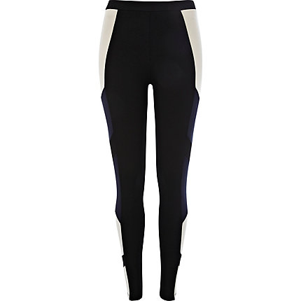 Black colour block high waisted leggings