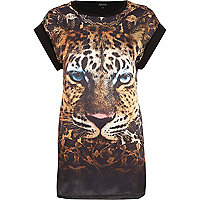Black tiger print satin front t-shirt