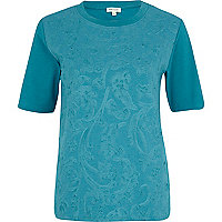 Green embossed front t-shirt