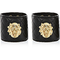 Black quilted lion head cuff bracelets