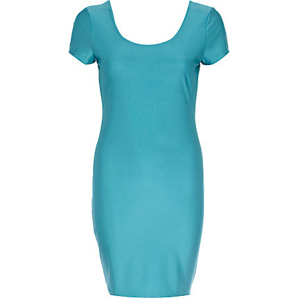 Turquoise disco ballerina scoop neck dress