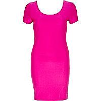 Bright pink disco ballerina scoop neck dress