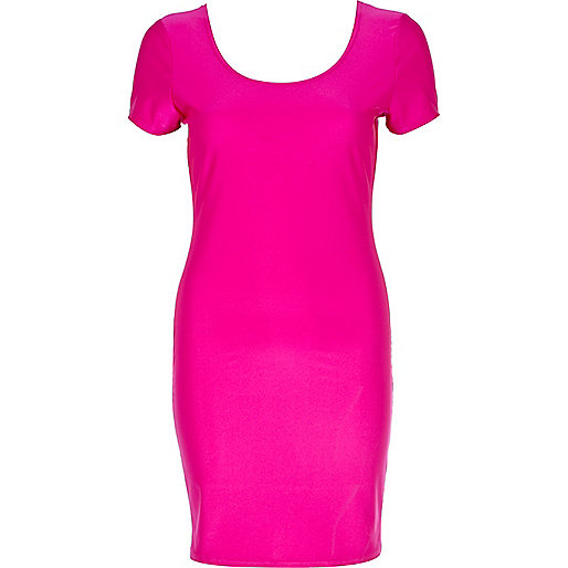Bright pink disco ballerina scoop neck dress