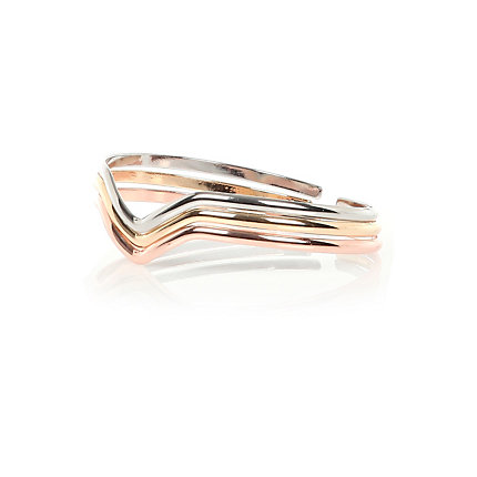 Mixed metal chevron arm cuff pack