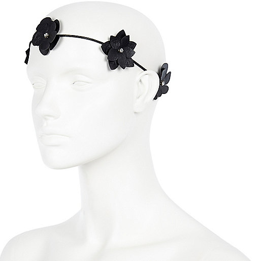 Black metallic 3D flower stretch hairband