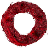 Dark red faux fur snood
