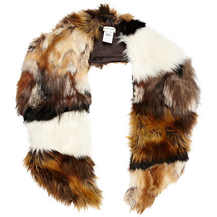 Brown mixed faux fur collar