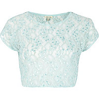 Light blue lace sequin embellished crop top