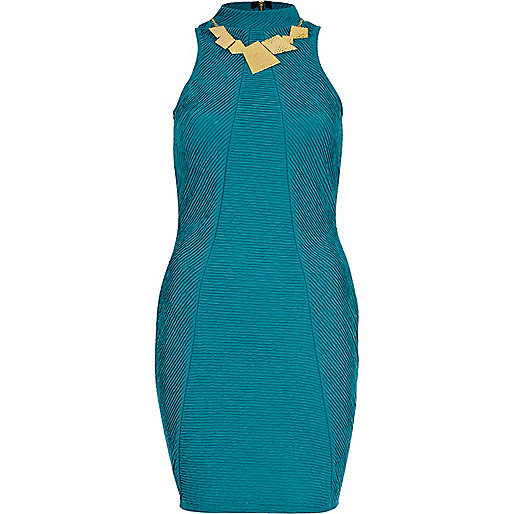 Turquoise shirred high neck bodycon dress