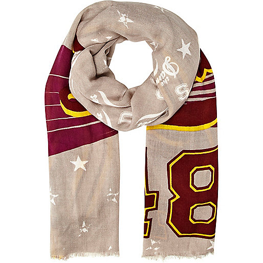 Grey varsity print lightweight scarf