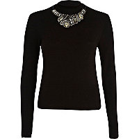 Black embellished high neck rib top