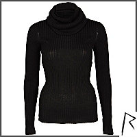 Black Rihanna rib roll neck jumper