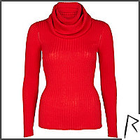 Red Rihanna rib roll neck jumper
