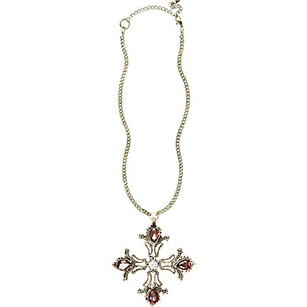 Grey gothic cross necklace