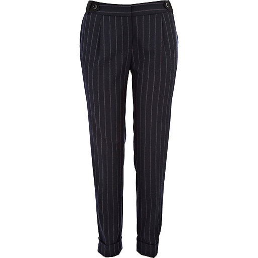 Navy pinstripe turn up trousers
