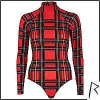 Red Rihanna tartan turtle neck cut out body