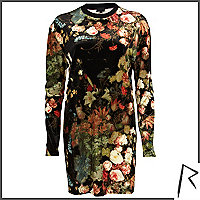 Black Rihanna floral velvet oversized top