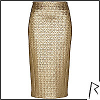 Gold Rihanna embossed zip pencil skirt