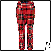 Red Rihanna tartan tapered trousers