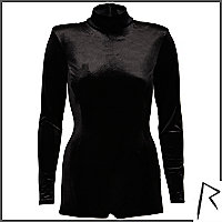 Black Rihanna velvet turtle neck playsuit