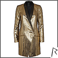 Gold Rihanna embossed tuxedo dress