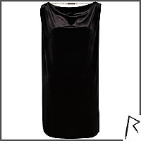 Black Rihanna draped velvet t-shirt dress