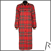 Red Rihanna tartan bomber jacket dress