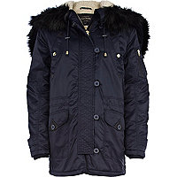 Navy blue padded parka jacket