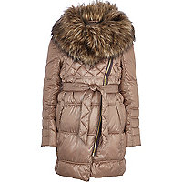 Beige faux fur cowl neck padded jacket
