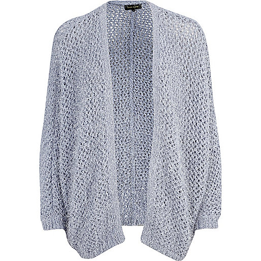 Blue eyelash knit open front cardigan