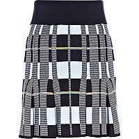 Blue check knitted skater skirt