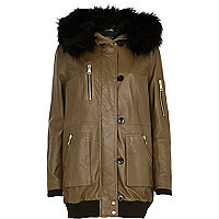 Khaki leather parka jacket