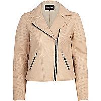 Light pink leather biker jacket