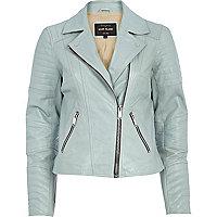 Light blue leather biker jacket