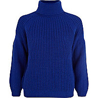 Blue roll neck rib jumper