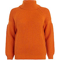 Orange roll neck rib jumper
