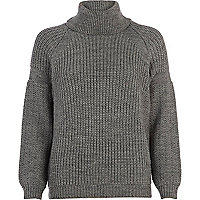 Grey roll neck rib jumper