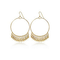 Gold tone tiny spike hoop earrings