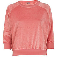 Coral cropped velour sweatshirt
