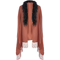 Pink Mongolian fur trim cape