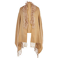 Beige Mongolian fur trim cape