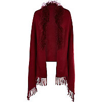 Dark red Mongolian fur trim cape