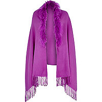 Purple Mongolian fur cape