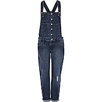 Mid wash button through denim dungarees