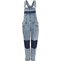Light acid wash colour block denim dungarees