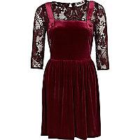 Dark red Chelsea Girl velvet pinafore dress