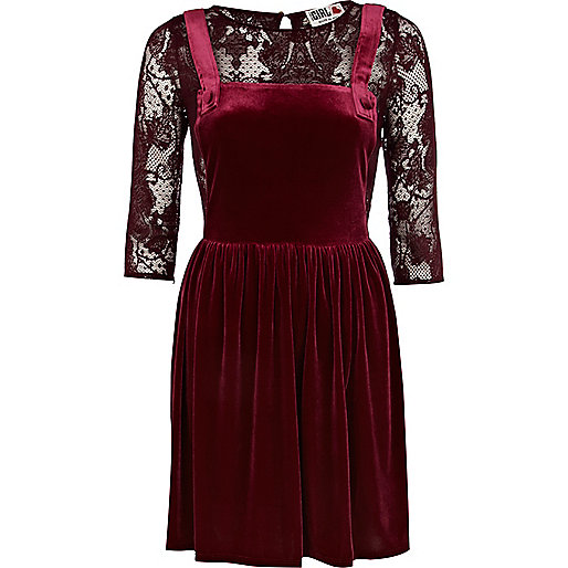 Dark red Chelsea Girl velvet pinafore dress
